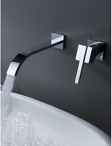 billige Sidesray-Badekarskran - Moderne Krom Vægmonteret Keramisk Ventil Bath Shower Mixer Taps / Enkelt håndtak To Huller