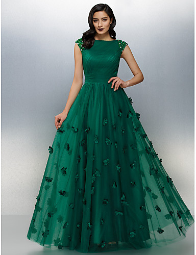 A-Line Boat Neck Floor Length Tulle Prom   Formal Evening Dress with Beading    Appliques by TS Couture® f2eec9f42121