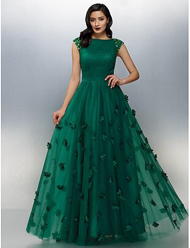 A-Linie Bateau Boden-Länge Tüll Abiball / Formeller Abend Kleid mit Perlenstickerei / Applikationen durch TS Couture®