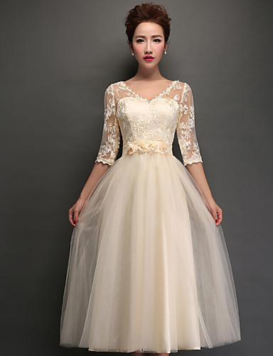 A-Line V Neck Tea Length Tulle Bridesmaid Dress with Appliques / Lace by LAN TING Express