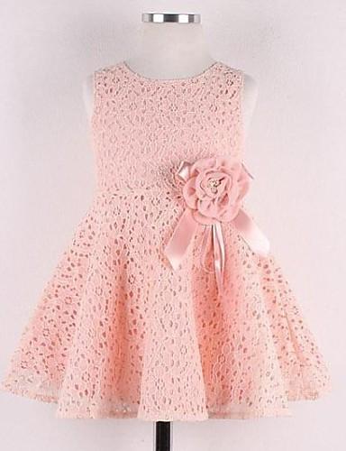 Κορίτσια Φόρεμα Δαντέλα Ζακάρ Άνοιξη Ροζ / Λευκή