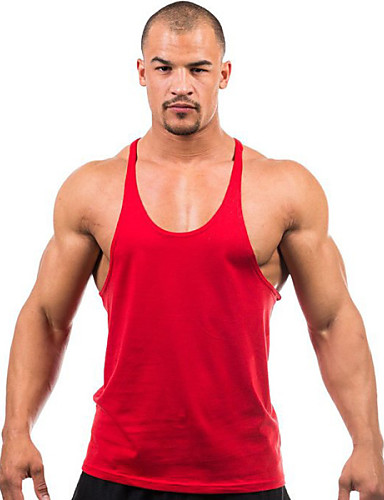 cheap Men's Tees & Tank Tops-Men's Daily Sports Weekend Active Plus Size Cotton Tank Top - Solid Colored Basic Round Neck Yellow L / Sleeveless / Summer