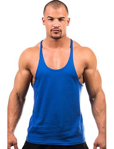 voordelige Heren T-shirts & tanktops-Heren Actief Standaard Grote maten - Singlet Sport Effen Ronde hals Geel / Mouwloos / Zomer