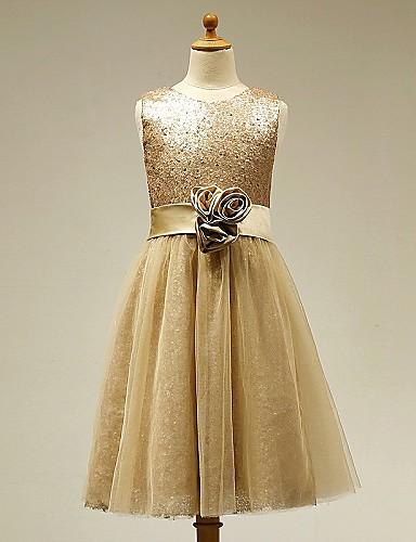 Egy vonalbeli térdhosszú viráglány ruha - szatén tüll ujjatlan ékszer nyak virággal lan ting bride®