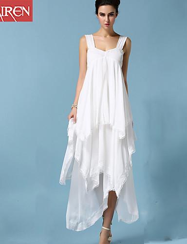 Bayanlar Kumsal Seksi / Sade Büyük Bedenler / Çan Elbise Solid,Kolsuz Askılı Maksi Beyaz Pamuklu / Polyester / Diğer Yaz