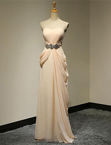 A-ligne bretelles longueur au sol chiffon robe formelle soirée balle militaire robe de fête de mariage avec perles