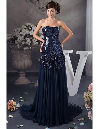 24d042b0a Vestido - Azul Marinho Escuro Festa Formal Linha-A Sem Alça Longo  Cetim Lantejoulas
