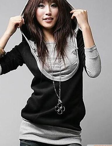 Γυναικεία T-shirt Καθημερινά Απλό Μονόχρωμο,Μακρυμάνικο Όλες τις Εποχές Μεσαίου Πάχους Βαμβάκι Μαύρο