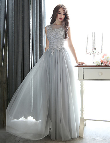 Sheath / Column Illusion Neckline Floor Length Tulle Beaded Lace Formal Evening / Black Tie Gala Dress with Beading Appliques by CHQY