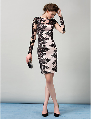 8051ac57e721 Sheath / Column Boat Neck Knee Length Stretch Satin / Lace Over Satin  Cocktail Party Dress with Buttons / Lace Insert by TS Couture® / Illusion  Sleeve