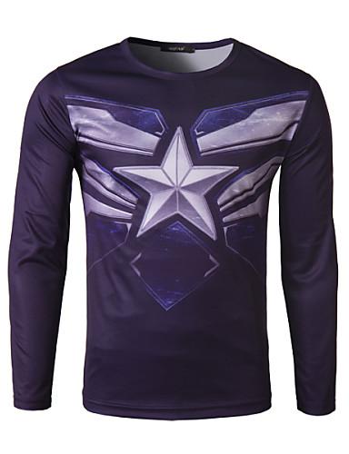T-Shirt Męski-Na co dzień / Sport-Nadruk-Mieszanka bawełny-Długi rękaw-Fioletowy