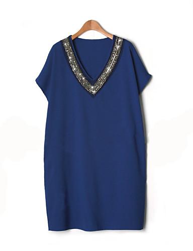 여성 시프트 드레스 캐쥬얼/데일리 플러스 사이즈 단순한 솔리드,V 넥 무릎 위 짧은 소매 여름 중간 밑위 약간의 신축성 얇음