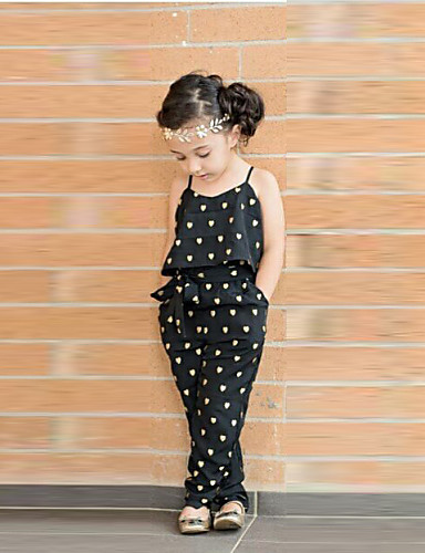 cheap The Eid Is Coming!-Toddler Girls' Cute Daily Heart Print Sleeveless Overall & Jumpsuit Black