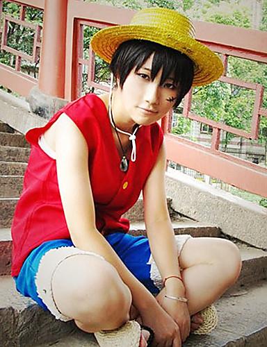 baratos Cosplay Anime-Inspirado por One Piece Monkey D. Luffy Anime Fantasias de Cosplay Ternos de Cosplay Retalhos Sem Manga Colete / Calções Para Homens