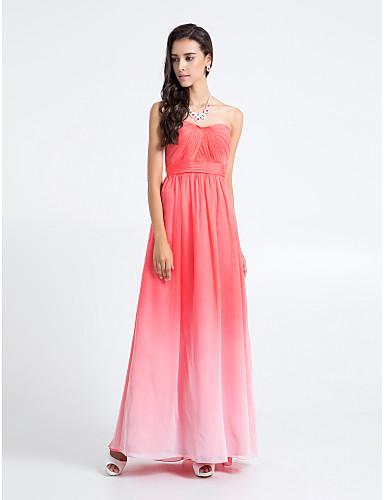 Lanting Bride® Μακρύ Σιφόν Διαβάθμιση Χρώματος Φόρεμα Παρανύμφων - Ίσια Γραμμή Στράπλες Μεγάλα Μεγέθη / Μικρά Νούμερα με Χιαστί
