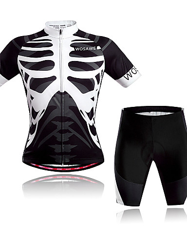 cheap Cycling Clothing-WOSAWE Men's Women's Short Sleeve Cycling Jersey with Shorts - Black / White Skeleton Bike Clothing Suit Breathable Quick Dry Back Pocket Sweat-wicking Sports Polyester Skeleton Mountain Bike MTB