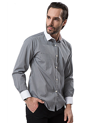 2015 business casual long sleeve turn down collar dark for Business casual white shirt