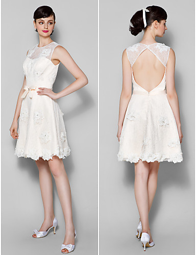 A-Line Jewel Neck Knee Length Lace Cocktail Party Homecoming Prom Dress with Bow(s) Flower(s) Lace by TS Couture®