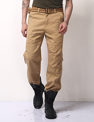 Men's Mid Rise Micro-elastic Straight Chinos Pants,Casual Active Solid Cotton Polyester Spring Fall