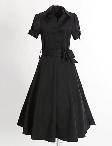 여성 스윙 드레스 캐쥬얼/데일리 빈티지 솔리드,셔츠 카라 미디 짧은 소매 면 폴리에스테르 여름 중간 밑위 약간의 신축성 중간