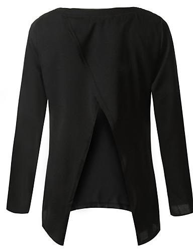 Жен. Открытая спина С разрезами Большие размеры - Блуза Однотонный
