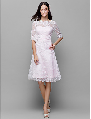 A-Line Bateau Neck Knee Length Lace / Satin Bridesmaid Dress with Beading / Lace by LAN TING BRIDE® / See Through