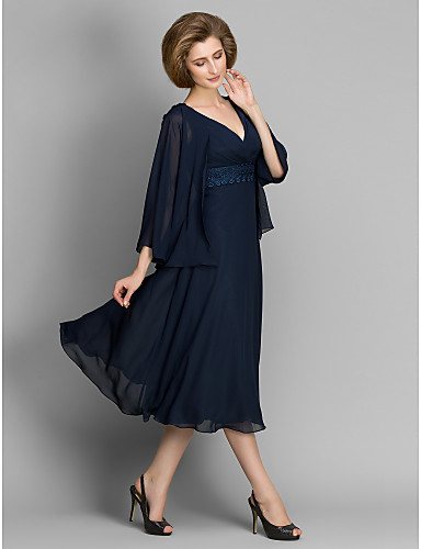 A-Line V Neck Tea Length Chiffon Mother of the Bride Dress with Lace by LAN TING BRIDE®