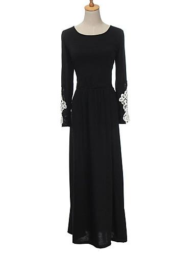 여성 시프트 드레스 작동 심플 솔리드,라운드 넥 맥시 긴 소매 가을 중간 밑위
