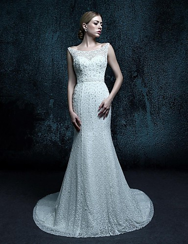 Футляр Свадебное платье С коротким шлейфом Глубокий круглый вырез Кружева с