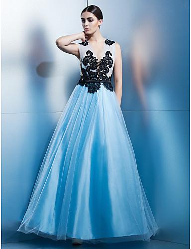 Krój A Zaokrąglony Do kostki Tiul Bal Kolacja oficjalna Elegancka gala Sukienka z Haft nakładany przez TS Couture®