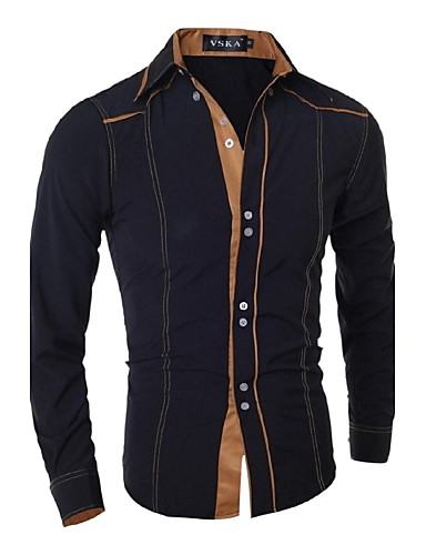 cheap Men's Clothing-Men's Work Business Cotton Slim Shirt - Solid Colored Basic Spread Collar / Long Sleeve / Spring / Fall
