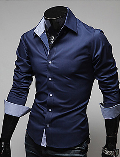 Men's Plus Size Cotton Slim Shirt - Solid Colored Classic Collar