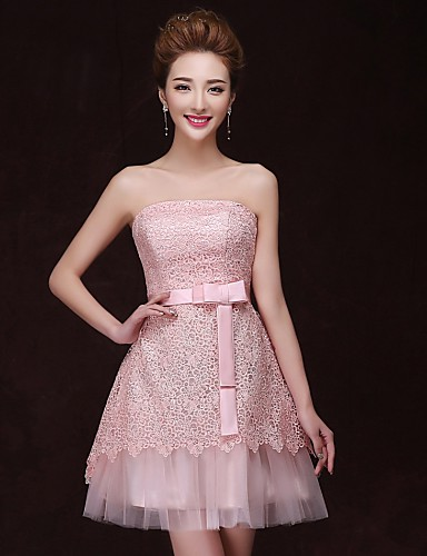 A-Line Strapless Knee Length Satin Cocktail Party Dress with Bandage