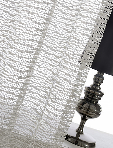 cheap Sheer Curtains-One Panel Ivory Mosaic Jacquard Sheer Curtain Drape