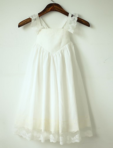 A-Line Tea Length Flower Girl Dress - Cotton Lace Sleeveless Straps with Pleats by LAN TING Express