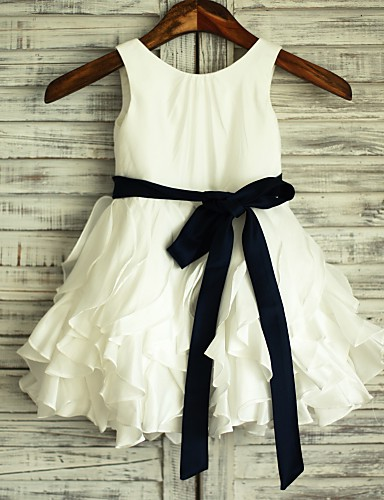A-Line Knee Length Flower Girl Dress - Satin / Taffeta Sleeveless Scoop Neck with Bow(s) / Sash / Ribbon by LAN TING Express