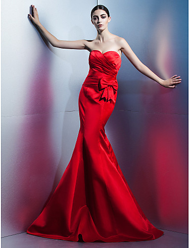 Mermaid / Trumpet Sweetheart Neckline Floor Length Satin Formal Evening Dress with Bow(s) / Side Draping by TS Couture®