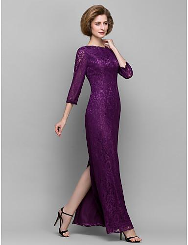 Lanting Bride® 시스 / 칼럼 신부 어머니 드레스 발목 길이 3/4 길이 소매 레이스 - 레이스