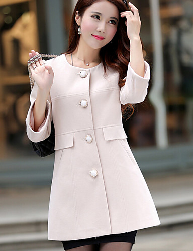 여성의 솔리드 라운드 넥 긴 소매 트렌치 코트 핑크 / 베이지 / 옐로 울 / 그외 가을 중간