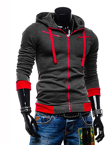 Men's Daily Sports Casual Active Color Block Plus Size Hoodie Jacket Regular,Long Sleeve Winter Spring Fall Cotton Polyester