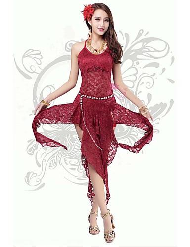 밸리 댄스 드레스 여성용 훈련 / 성능 폴리에스터 / 우유 섬유 레이스 / 정면 분할 1개 민소매 높음 공주 드레스 113
