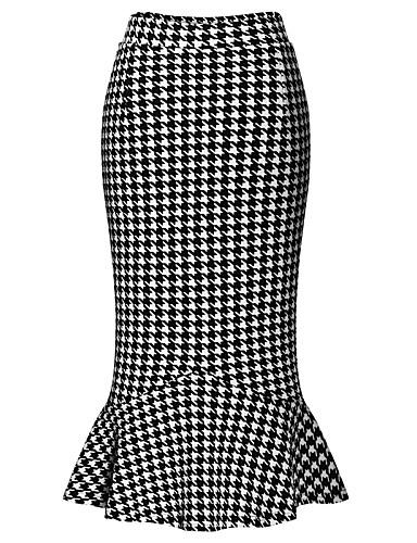 Naiset Yksinkertainen Katutyyli Midi Hameet,Vartalonmyötäinen Työ Skottiruutukuvio Syksy Puuvilla Polyesteri