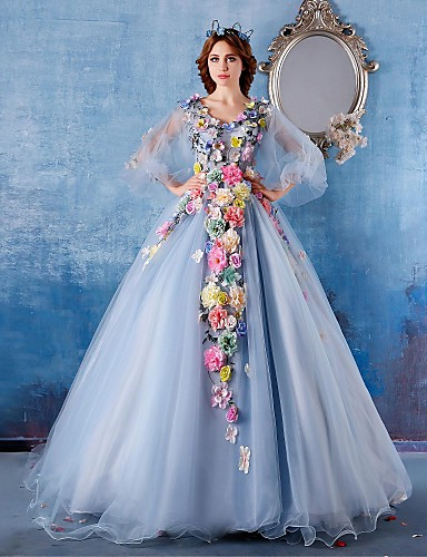 볼 드레스 공주 V 넥 채플 트레인 새틴 튤 포멀 이브닝 드레스 와 꽃패턴 으로 Embroidered Bridal
