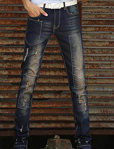 Homme Décontracté Taille Normale Micro-élastique Jeans Pantalon, Coton Polyester Toutes les Saisons Couleur Pleine