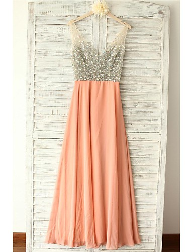 A-Line V-neck Floor Length Chiffon Formal Evening Dress with Beading Crystal Detailing by Thstylee