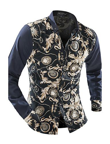 Homens Camisa Social Vintage Patchwork, Floral Colarinho Clássico Delgado / Manga Longa / Primavera / Outono