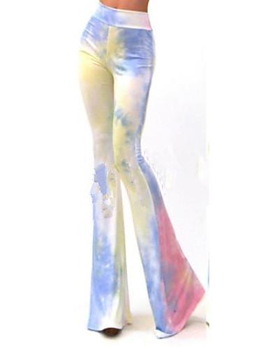 여성 스트래치 청바지 바지,와이드 레그 높은 밑위 컬러 블럭