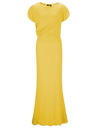 Sukienka - Obuwie damskie - Bez pleców - Maxi - Krótki rękaw - Na jedno ramię / Dekolt skośny