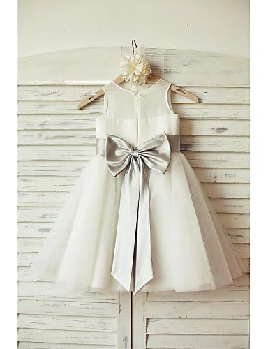 Krój A Do kolan Sukienka dla dziewczynki z kwiatami - Szyfon Tiul Bez rękawów z Kokardki Przewiązka / Wstążka przez LAN TING BRIDE®