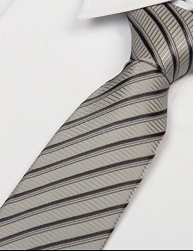 Silver Black Striped Men Occupational Jacquard Tie Necktie